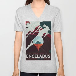 NASA Retro Space Travel Poster #3 - Enceladus Unisex V-Neck