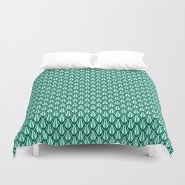Gleaming Green Metal Scalloped Scale Pattern Duvet Cover
