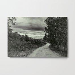 Rural Road - Black and White Metal Print