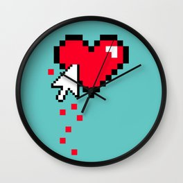 Broken 8 bits Heart Wall Clock