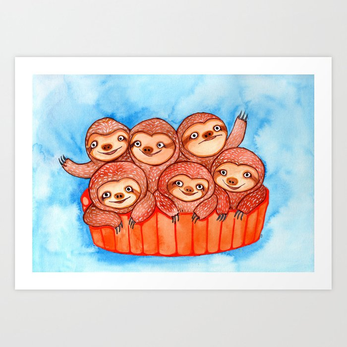 Watercolor Art | Bucketful of Sloths Art Print