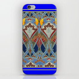 Ornate blue & Yellow Art Nouveau Butterfly Red Designs iPhone Skin