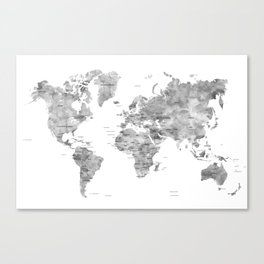 Gray watercolor world map with countries Canvas Print