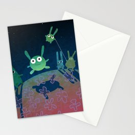 """planet of green bunnies, illustration from my book """"Bunny Who Felt Different"""" Stationery Cards"""