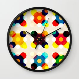 Adlet - Colorful Dots in Star Shape on Beige Wall Clock