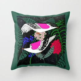 Sgraffito Birds - Bright Fuchsia Botanical Birds and Flowers Throw Pillow
