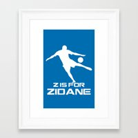 zidane Framed Art Prints featuring Zidane Blue by Sport_Designs