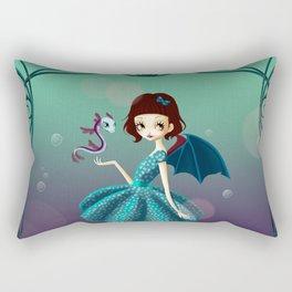 Sea dragon girl Rectangular Pillow
