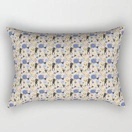 Black Greyhound Dogs on Vintage Floral Pattern - Beige Wood Theme Rectangular Pillow