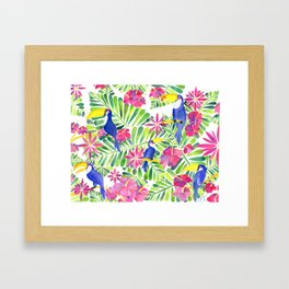 Tropical Toucans Watercolor Painting Framed Art Print