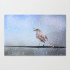 Mockingbird In The Snow Canvas Print