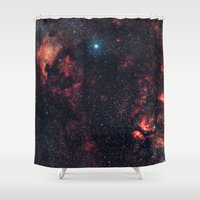 hercules Shower Curtains featuring Cygnus Constellation by Space99