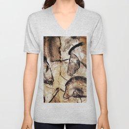 Facing Horses // Chauvet Cave Art Unisex V-Neck