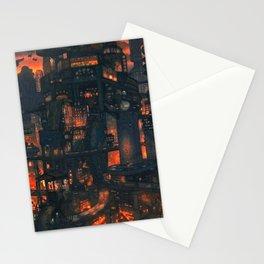 Breathtaking Future Cityscape Skyline Menacing Glow Cartoon Scenery Ultra High Resolution Stationery Cards