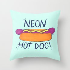 NEON HOT DOG Throw Pillow