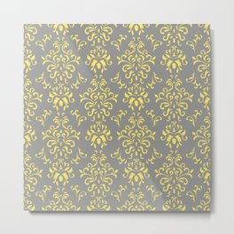 Damask Pattern in Grey and Yellow Metal Print