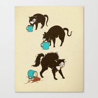coffee Canvas Prints featuring Coffee Cat by Boots