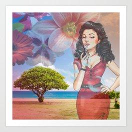 Beautiful Scenery Flowers & Girl Blowing Bubbles Art Print