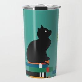 Cat, books and flowers Travel Mug