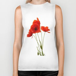 Delicate Red Poppies Vector Biker Tank