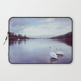 Swans on the shore of Lake Windermere at dawn. Cumbria, UK. (Shot on film). Laptop Sleeve