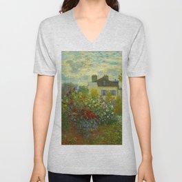Claude Monet Impressionist Landscape Oil Painting A Corner of the Garden with Dahliass Unisex V-Neck