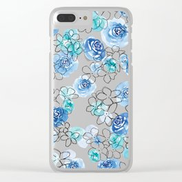 Blue Floral #2 Clear iPhone Case