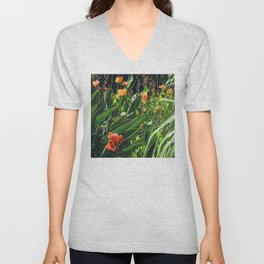 Exotic Garden With Glorious Majestic Flowers Unisex V-Neck