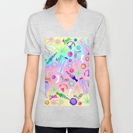 Psychedelic 70s Groovy Collage Pattern Unisex V-Neck