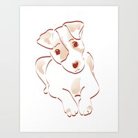 jack russell Art Prints featuring Jack russell by 1 monde à part