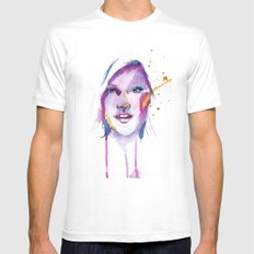 She MEDIUM White Mens Fitted Tee