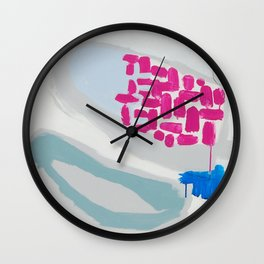 """""""launched"""" abstract painting in fresh colors gray, white pink and mint by Wall Clock"""