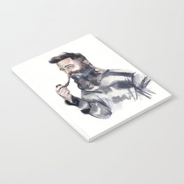 Brutal man sailor smoking a pipe Notebook