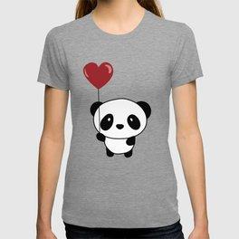 Cute Chibi Panda Valentine Balloon Heart T-shirt