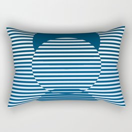 Optical Hypnotic Illusion 2 - Beach Cottage Nautical Indigo Blue Rectangular Pillow