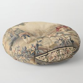 Aubusson  Antique French Tapestry Print Floor Pillow