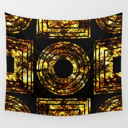 Golden Shapes - Abstract, black and gold, geometric, metallic textured artwork Wall Tapestry