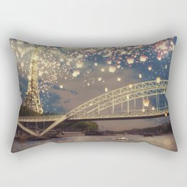 Love Wish Lanterns over Paris Rectangular Pillow