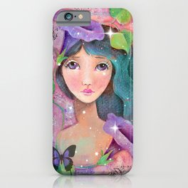 Whimiscal Girl with Morning Glories iPhone Case