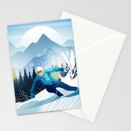 Skiing Lovers - Snowboard Skyline Stationery Cards
