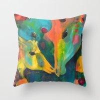 giraffes Throw Pillows featuring Giraffes by Silke Powers