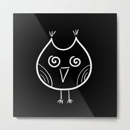 White Owl on Black Metal Print