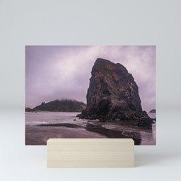 Moody rocky beach Mini Art Print