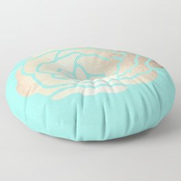 Rose in White Gold Sands on Tropical Sea Blue Floor Pillow