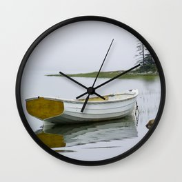 A Fine Art Photograph of a White Maine Boat on a Foggy Morning Wall Clock