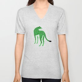The Stare 2: Tropical Green Cheetah Edition Unisex V-Neck