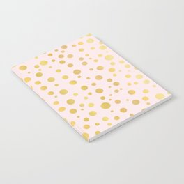 Luxe Rose Gold Polka Dots Pattern Seamless Vector, Drawn Metallic Notebook