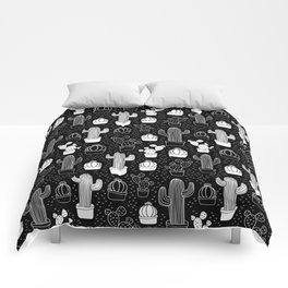 Black & White Cactus Doodle Pattern Comforters