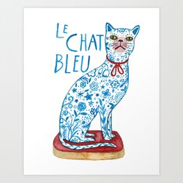 Le Chat Bleu Art Print