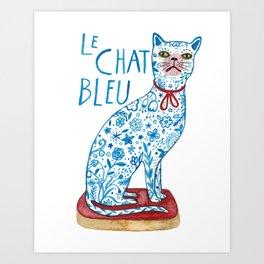 Le Chat Bleu Art Print